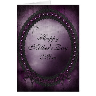 Gothic Purple Bows & Black Lace Mother's Day Card