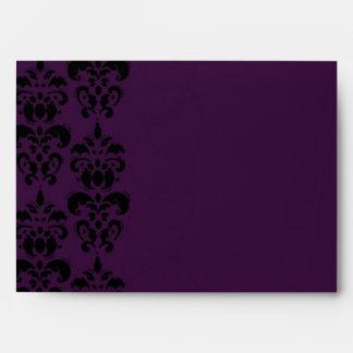 Gothic purple damask wedding envelope