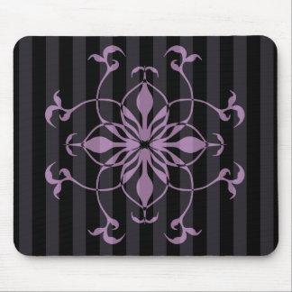 Gothic purple flower on dark stripes mouse pad