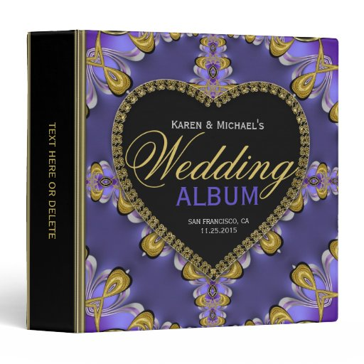 Gothic Purple Gold Lace Wedding Album Binder