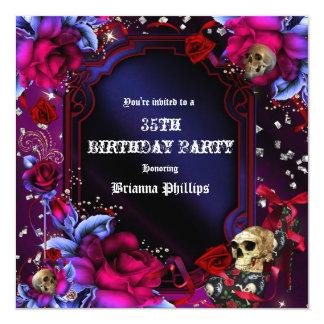 Gothic Purple Red Roses Skulls Bling Invitation