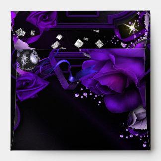 Gothic Purple Roses Skulls Square Invite Envelope
