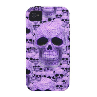 Gothic Purple Skulls Case For The iPhone 4