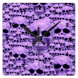 Gothic Purple Skulls Wall Clock
