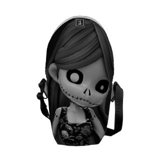 Gothic Rag Dolls BW Messenger Bags