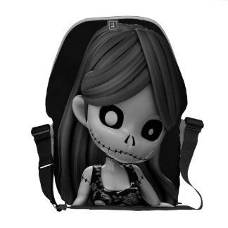 Gothic Rag Dolls BW Messenger Bag