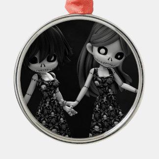 Gothic Rag Dolls BW Christmas Tree Ornament