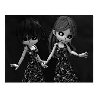 Gothic Rag Dolls BW Postcard