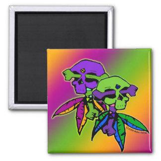 Gothic Rainbow Dead Head Skull & Cross Bones 2 Inch Square Magnet