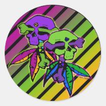 myka, jelina, rainbow, skull, dead, head, cross, bones, fantasy, emo, art, Sticker with custom graphic design