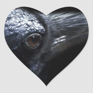 Gothic Raven and Crow Familiar Heart Sticker
