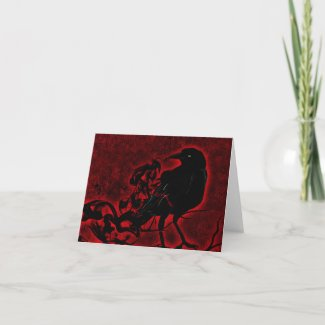 Gothic Raven in Red Thank You Card