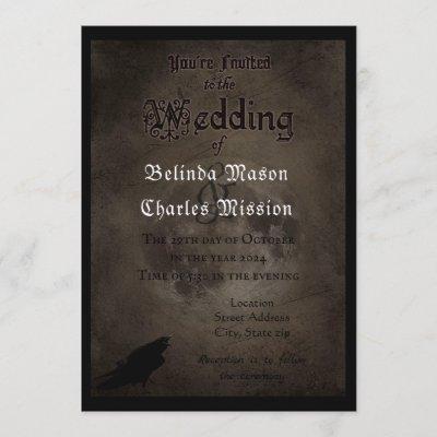 Gothic Raven & Moon Wedding Invitation