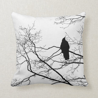 Gothic Raven on a Tree Branch Pillow Cushion Art