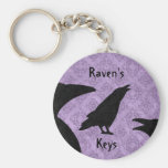 Gothic ravens black and purple add your name basic round button keychain