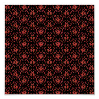 Gothic Red and Black Damask Pattern. Poster