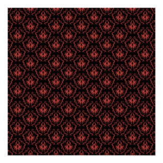 Gothic Red and Black Damask Pattern. Posters