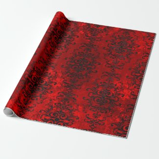 Gothic Red and Black Damask Wrapping Paper