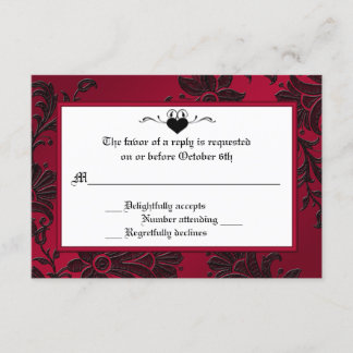 Gothic Red and Black Floral RSVP Card