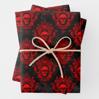 Gothic Red and Black Skull Wrapping Paper