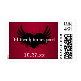 Gothic Red and Black Wedding Postage