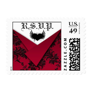 Gothic Red and Black Wedding RSVP Postage