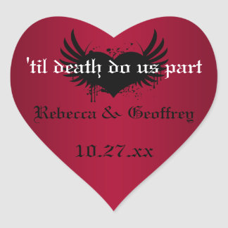 Gothic Red and Black Winged Heart Wedding Sticker