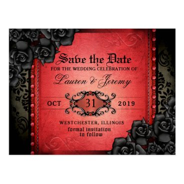 Halloween Themed Gothic Red & Black Halloween Save Date PostCard