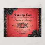Gothic Red & Black Halloween Save Date PostCard