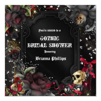 Gothic Red Black Roses & Skulls Bling Invitation