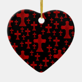 Gothic red cemetery crosses heart ornament