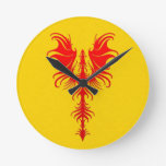 Gothic Red Dragon on Yellow Round Clock