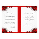 "Gothic Red Floral Wedding Program Templates 8.5"" X 11"" Flyer"