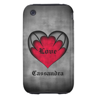 Gothic red heart Valentine's day Tough iPhone 3 Cover