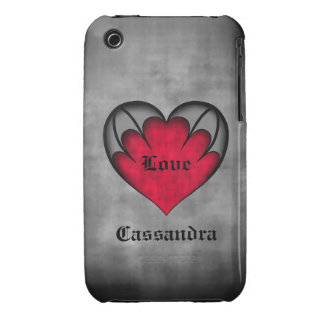 Gothic red heart Valentine's day iPhone 3 Cases