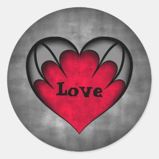 Gothic red heart Valentine's day Love Round Stickers
