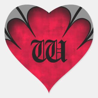 Gothic red heart Valentine's day monogram Heart Sticker