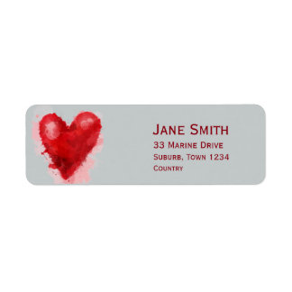 Gothic red heart watercolour illustration art return address label