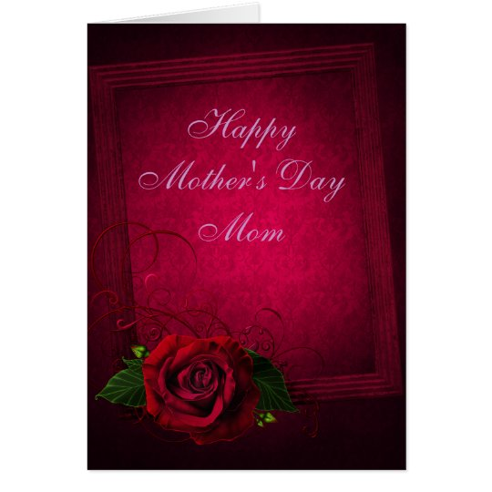 Gothic Red Rose & Purple Damask Mother's Day Card