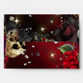 Gothic Red Roses & Skulls Glam Invitation Envelope