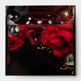 Gothic Red Roses & Skulls Square Invite Envelope
