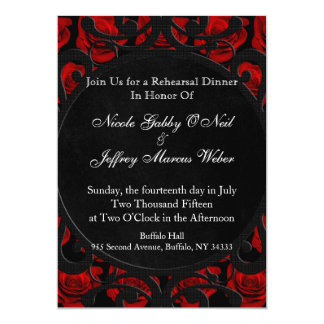 Gothic Red Roses Victorian Rehearsal Dinner Card