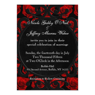 Gothic Red Roses Victorian Wedding Invitation