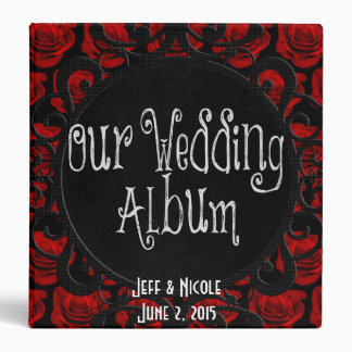 Gothic Red Roses Victorian Wedding Photo Album 3 Ring Binder
