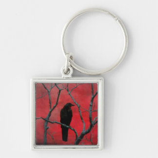 Gothic Red Silver-Colored Square Keychain