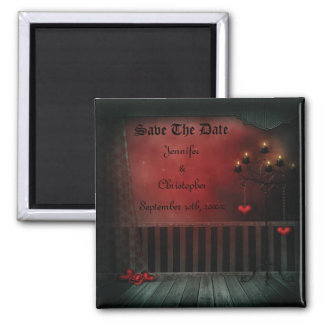 Gothic Romance Candles Save The Date Wedding 2 Inch Square Magnet