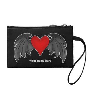 Gothic romance dark winged heart coin purses