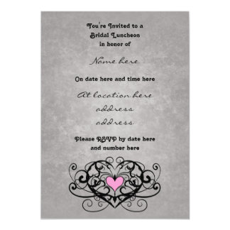 Gothic romance swirls and hearts bridal luncheon personalized invites