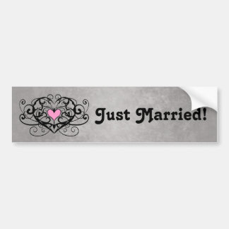 Gothic romance swirls and hearts just married v2 bumper stickers