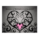 Gothic romance swirls and hearts save the date post card